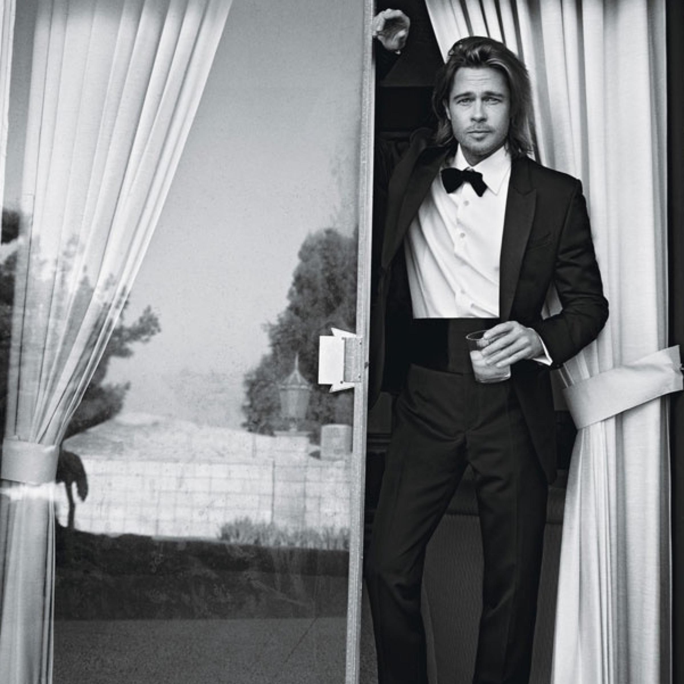 Brad Pitt wearing a Tuxedo with a cummerbund