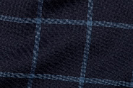 Close up view of Liberty Blue Windowpane Fabric in Super 130s with solid lines