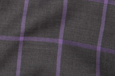 Close up view of Grey Windowpane Fabric in Super 110s with solid lines