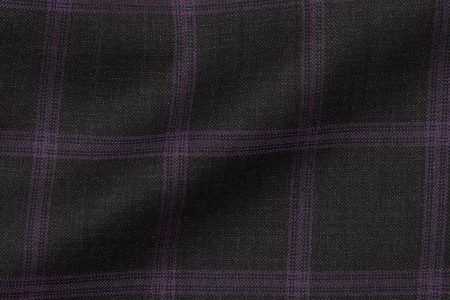 Close up view of Charcoal Windowpane Fabric in Super 130s