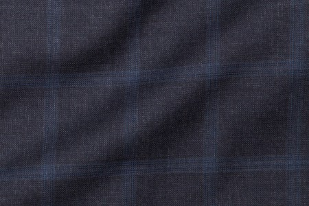Close up view of Navy Windowpane Fabric in Super 130s