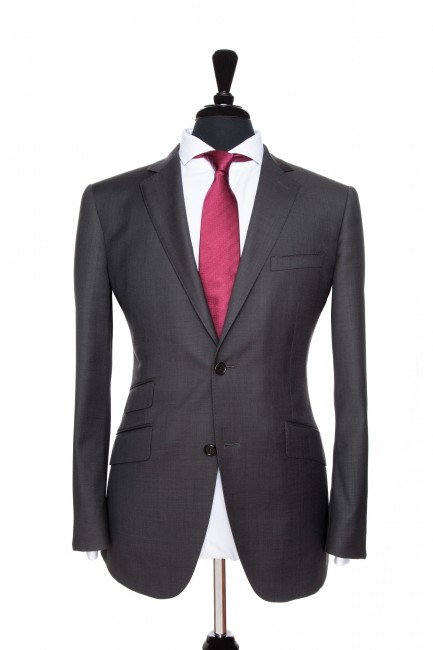 Front Mannequin View of Pocket Square's Charcoal Plain Suit with notch lapels and black buttons