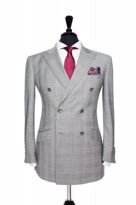 Front Mannequin View of Pocket Square's Light Grey with matching buttons, peak lapel and slanted pockets in a double breasted jacket