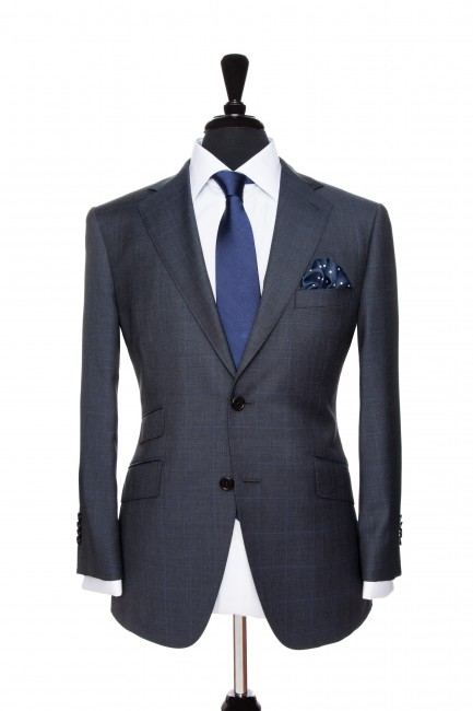 Front Mannequin view of Pocket Square's Bluestone Prince Of Wales Suit with black button customisation