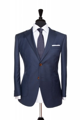 Front Mannequin view of Pocket Square's Bohemian Navy Suit with brown button customisation