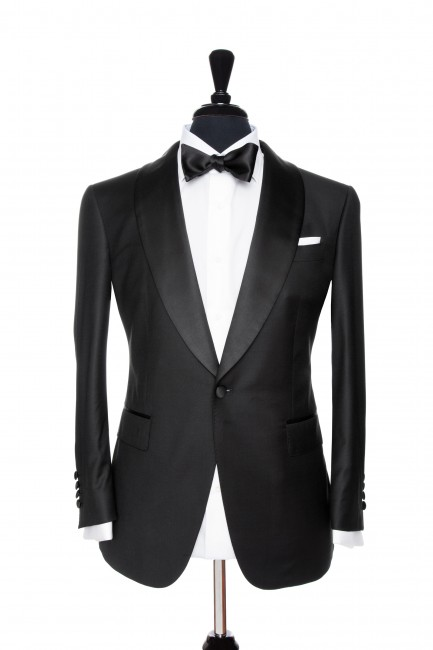 Front Mannequin View of Pocket Square's Black Suit with a Tuxedo Customisation