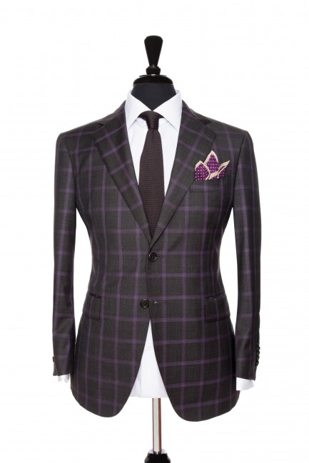 Front Mannequin View of Pocket Square's Charcoal Suit with a purple windowpane