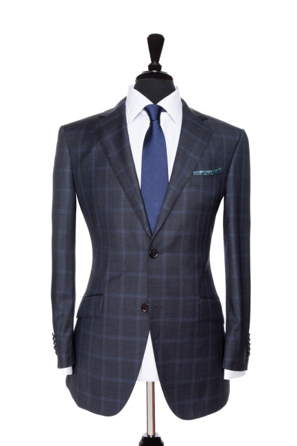 Front Mannequin View of Pocket Square's Navy Suit with a blue windowpane