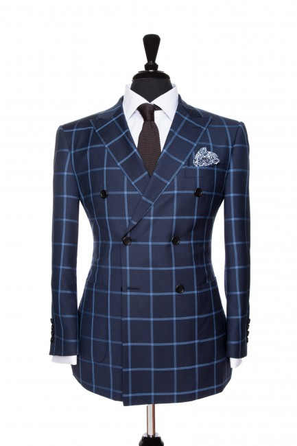 Front Mannequin View of Pocket Square's Liberty Blue Suit with a solid blue windowpane in Super 110s in a double breasted jacket