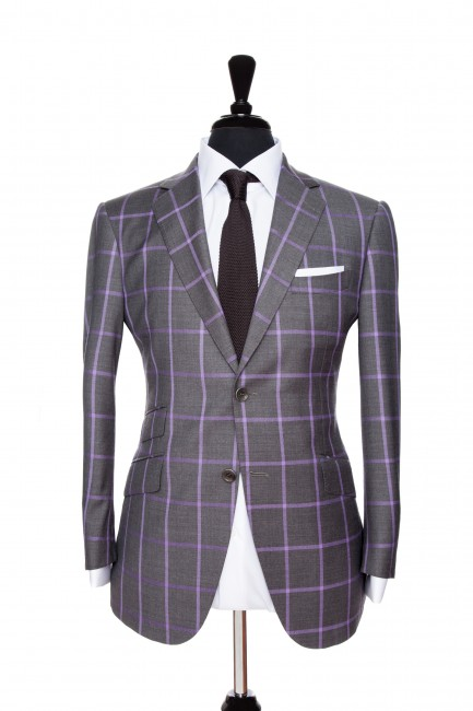 Front Mannequin View of Pocket Square's Dark Grey Suit with a solid purple windowpane in Super 110s