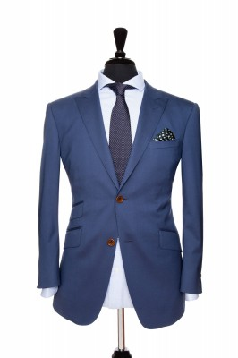 Front Mannequin View of Pocket Square's Sapphire Navy Suit with brown button customisation