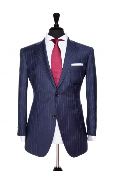 Front Mannequin View of Pocket Square's Milano Pinstripe Navy Suit