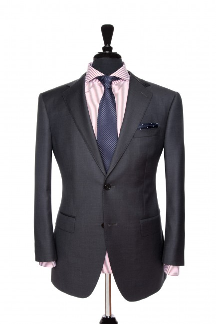 Front Mannequin View of Pocket Square's Aston Charcoal Suit