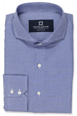 Navy Houndstooth Shirt with 2 button angled cuff and extreme cutaway collar shirt photo