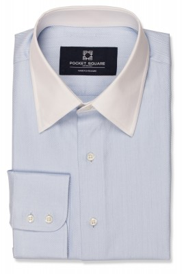 Light Blue Herringbone Shirt with 2 button round cuff and spread classic collar shirt photo