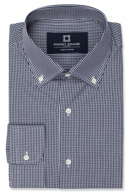 Dark Navy Mini Gingham Shirt with 1 button angled cuff and button down collar shirt photo