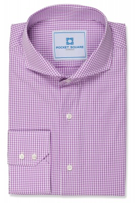 Purple Mini Gingham Shirt with 2 button angle cuff and extreme cutaway collar shirt photo