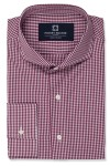 Red Mini Gingham shirt with 1 button square cuff and extreme cutaway collar shirt photo