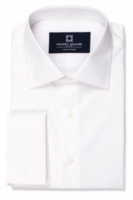 White Plain Shirt with french cuff and spread collar shirt photo