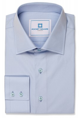 Blue Plain Shirt with 2 button square cuff and spread collar shirt photo
