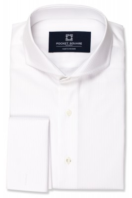 White Jacquard Shirt with french cuff and extreme cutaway collar shirt photo