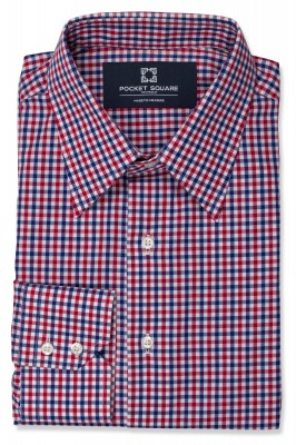 Red and Blue Mini Gingham Shirt with 2 button angled cuff and classic collar shirt photo