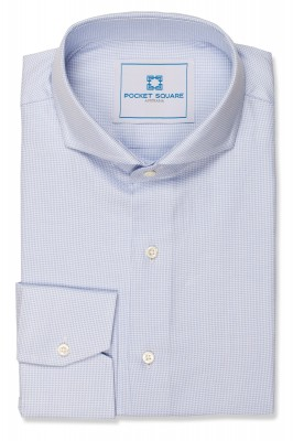 Light Blue Houndstooth Shirt with 1 button angled cuff and extreme cutaway collar shirt photo