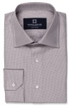 Grey Houndstooth Shirt with 1 button angled cuff and spread collar shirt photo