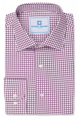 Purple Check Shirt with 1 button round cuff and spread collar shirt photo
