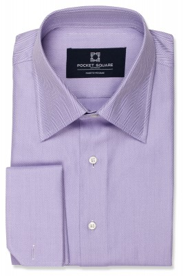 Purple Herringbone Shirt with angled french cuff and spread collar shirt photo
