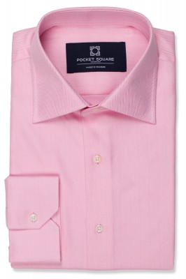 Pink Herringbone Shirt with 1 button angled cuff and spread collar shirt photo