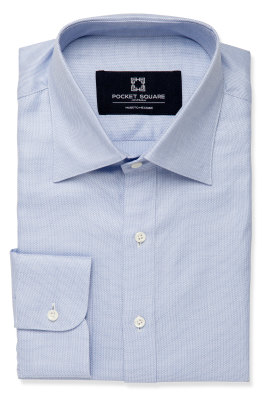 Blue Patterned Twill Shirt Angled Cuff and Spread Collar Product Photo