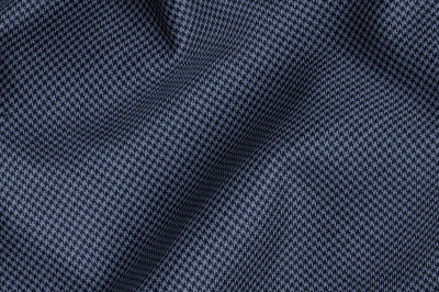 Close Up view of Pocket Square Blue Houndstooth Fabric in Super 120s