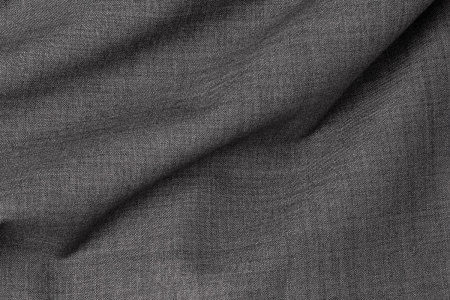 Close up view Pocket Square Mid Grey Sharkskin Plain Fabric in Super 110s