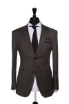 Front Mannequin View of Pocket Square's Marcato Brown Birdseye Suit with matching buttons and peak lapels