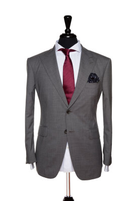 Front Mannequin View of Pocket Square's Mid Grey Sharkskin Suit with peak lapels and matching buttons in Super 110s