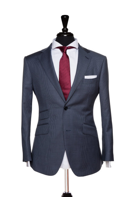 Front Mannequin View of Pocket Square's Blue Houndstooth Suit with a notch lapel and black buttons
