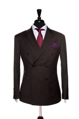Front Mannequin View of Pocket Square's Brown Plain Double breasted Suit patch pockets and peak lapel